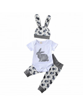 2020 Easter Bunny Outfits Toddler Baby Boy Girl Romper Bodysuit+Pants Clothes