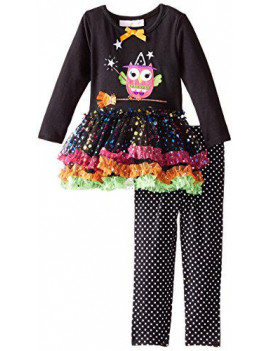 Bonnie Baby Girls' Witch Owl Tutu Legging Set - 18 Months - Black