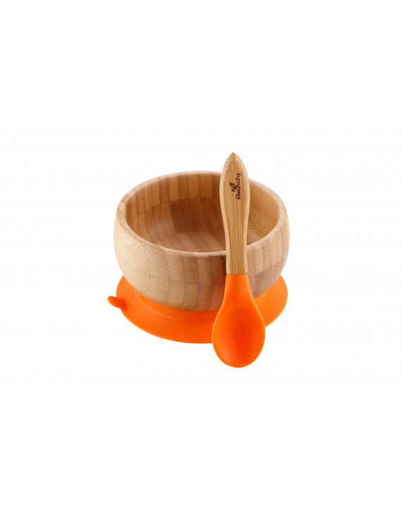 Avanchy Bamboo Stay Put Suction Baby Bowl + Spoon Orange