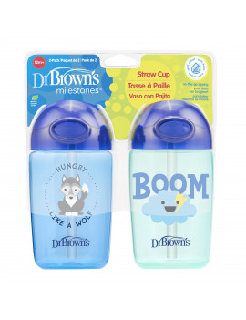 Dr. Brown's Milestones Straw Cup with Lid, 12 Ounce, Blue, 2 Count