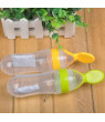 Newborn Infant Portable Silicone Feeding Bottle With Spoon Food Supplement Rice Cereal Bottle Feeder