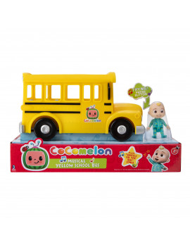 COCOMELON Yellow JJ School Bus with Sound, 10IN Feature Vehicle with 3in Figure