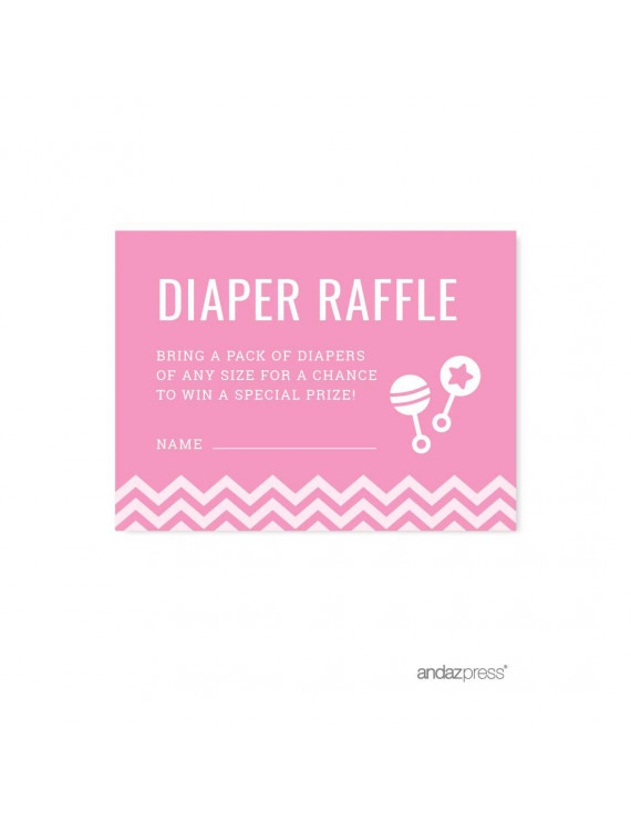 Diaper Raffle Bubblegum Pink Chevron Baby Shower Games, 30-Pack