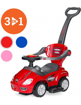 3-in-1 Kids Push and Pedal Toddler Ride On Wagon Play Toy Stroller w/ Sounds, Handle, Horn - Red