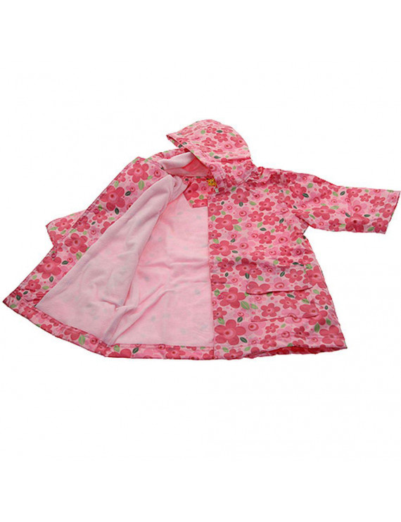 Girls Cute Pink Floral Print Lined Raincoat 12M/2T