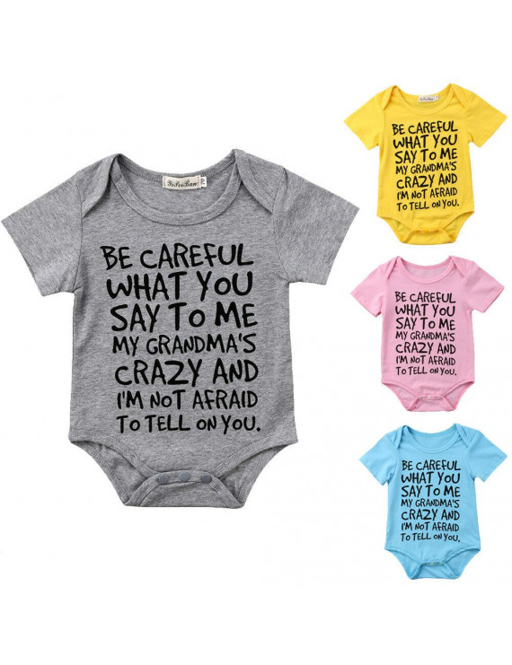 Cathery Baby Boy Girl Toddler Grandma Romper Jumpsuit Bodysuit Clothes Outfit 0-24M