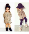 Fashion Baby Kids Girls Casual 3/4 Long Sleeved Leopard Cotton Short Dress 0-5Y