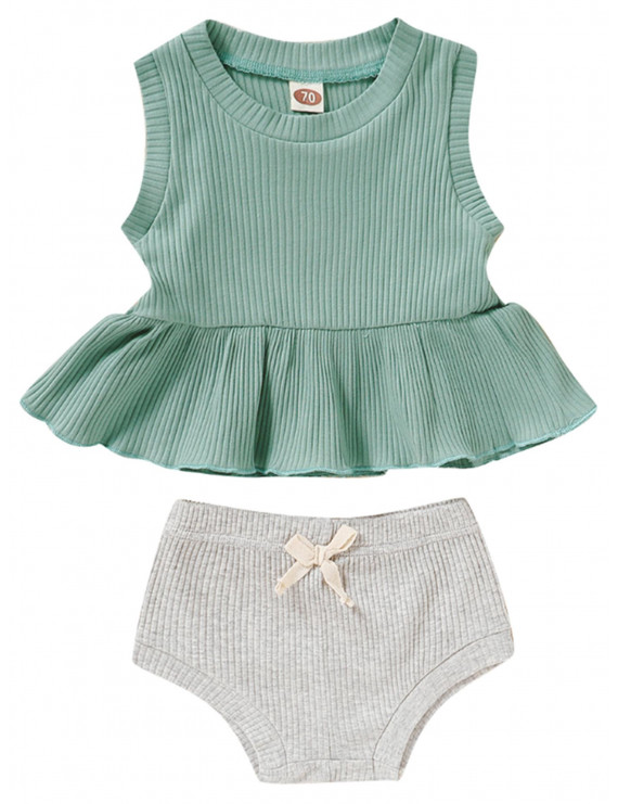 Summer 2PCS Newborn Toddler Baby Girls Clothes Sleeveless Ruffle T-shirt Top Shorts Solid Cotton Soft Outfit Costume Green 12-18 Months