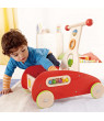 Hape Toys Toddler Baby Push & Pull Toy Wonder Walker Cart with Wooden Blocks