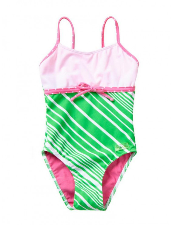 Azul Little Girls Green Pink Candy Crush Tie Accent One Piece Swimsuit