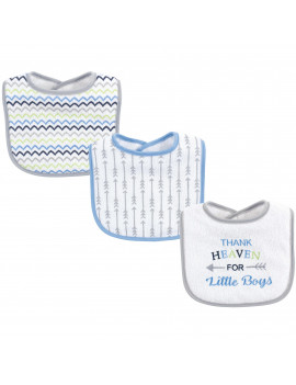Luvable Friends Baby Boy and Girl Drooler Bibs, 3-Pack, Boy Arrow