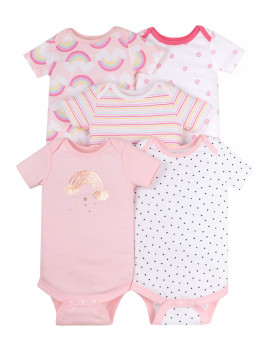 Little Star Organic Baby Girls Organic Bodysuits, 5-Pack