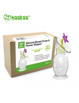 Haakaa Gen 2 Silicone Breast Pump with Suction Base and Purple Stopper 4 oz