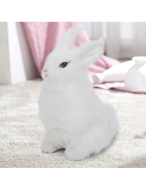 Ccdes Mini Realistic Plush Rabbit Lifelike Animal Easter Home Ornament Simulation Toy Model Gift, Plush Rabbit Collection, Ornament Plush Toy