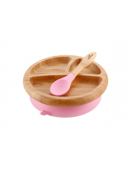 Avanchy Bamboo Stay Put Suction Baby Plate + Spoon Pink