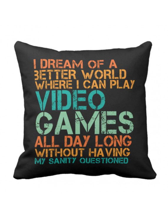 BPBOP Funny Quote for Video Games Geek and Gamer Pillowcase Throw Pillow Cover 20x20 inches
