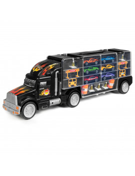 Best Choice Products 29-Piece Kids 2-Sided Transport Car Carrier Semi Truck Toy w/ 18 Cars, 28 Slots - Multicolor