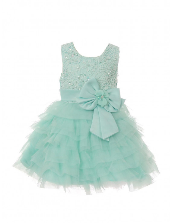 Baby Girls Mint Sequin Pearl Multi Layer Ruffle Bow Flower Girl Dress