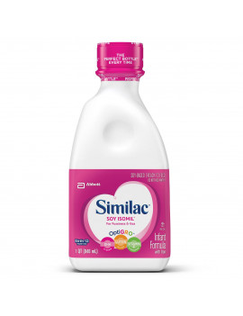 Similac Soy Isomil Baby Formula For Fussiness and Gas, 4 Count Ready-to-Feed, 1-Quart Bottle