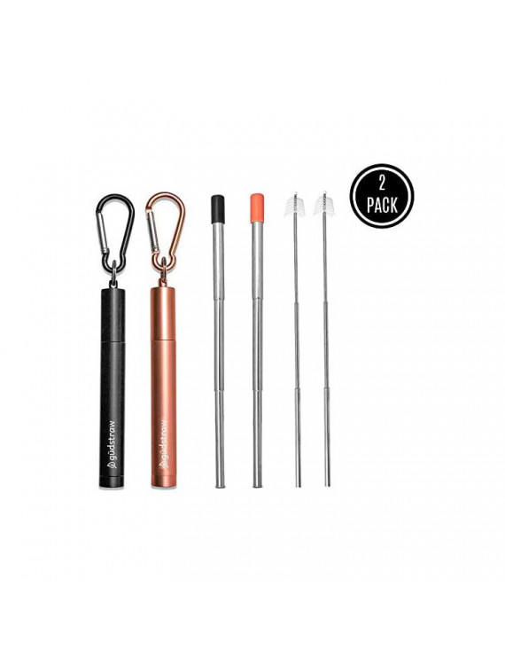 | Reusable Metal Drinking Straw | Collapsible Retractable Telescopic Portable Stainless Steel | Silicone Tips Cleaning Brush Aluminum Case | Black and Rose Gold