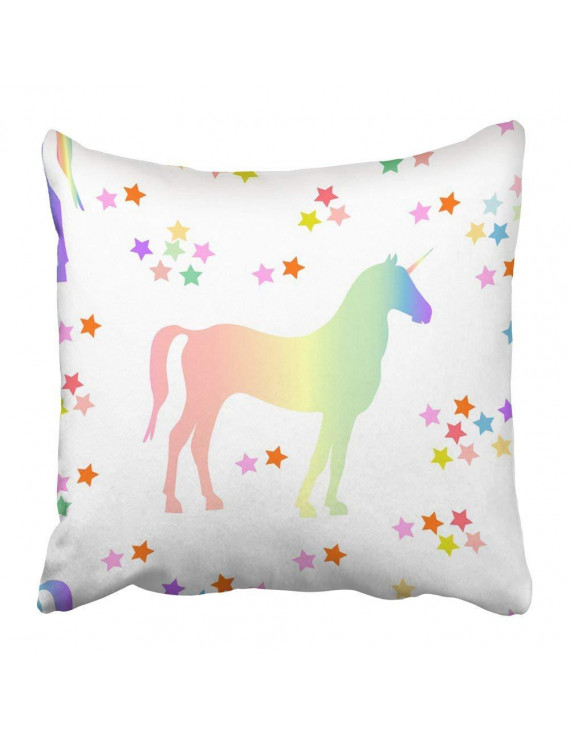 BPBOP Rainbow Unicorn Pattern with Magic Creatures and Stars on White 1980S 1990S Motifs Retro Collection Pillowcase Pillow Cover 16x16 inches