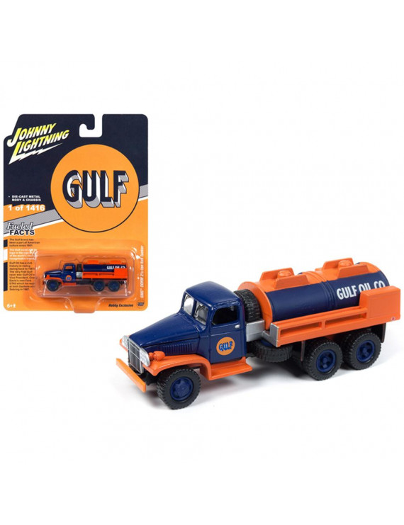 "GMC CCKW 2 1/2-ton 6x6 Tanker Truck ""Gulf Oil"" Limited Edition to 1,416 pcs Worldwide 1/87 Diecast by Johnny Lightning"