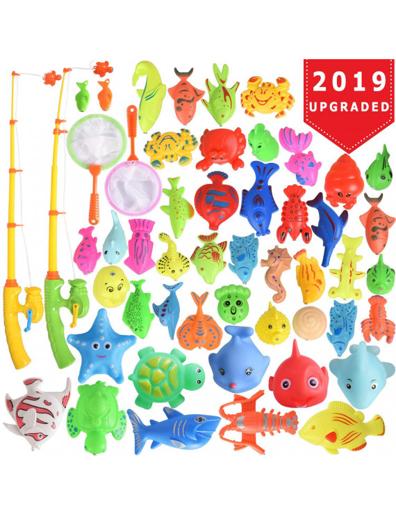 40 Pcs Magnetic Fishing Toys Game Set Learning Education Fishin' Bath Toys for Kids in Bathtub Pool Bath time