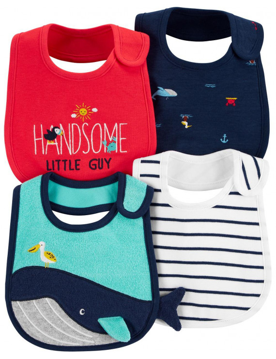 Carter's Baby Boys' 4-Pack Teething Bibs, Whales, One Size