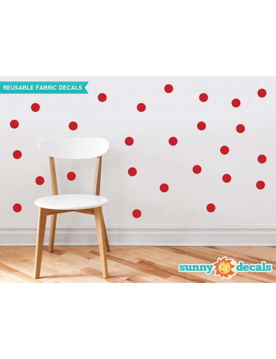 Polka Dot Fabric Wall Decals - Set Of 48 Two Inch Dots - Reusable, Repositionable - 21 Color Options-Red/