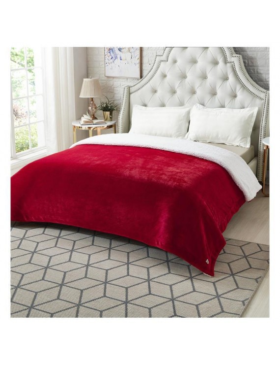 """Posh Pascal 108""""x90"""" Reversible Flannel Solid Sherpa Blanket in Red"""