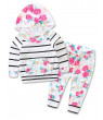 Infant Baby Girl Floral Pattern Long Sleeve Hooded Sweatshirt and Pants Cotton Outfit