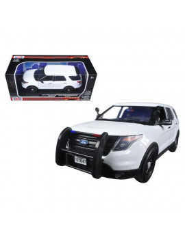1 by 18 Scale Diecast 2015 Ford PI Police Utility Interceptor Slick Top White Model Car