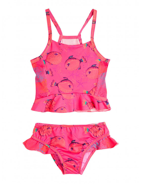 OFFCORSS Toddler Baby Girl Two Piece Matching Summer Beach Clothing Tankini Swimsuit UV Protection Set Trajes de Baño de Verano para Niñas Fuchsia 18M