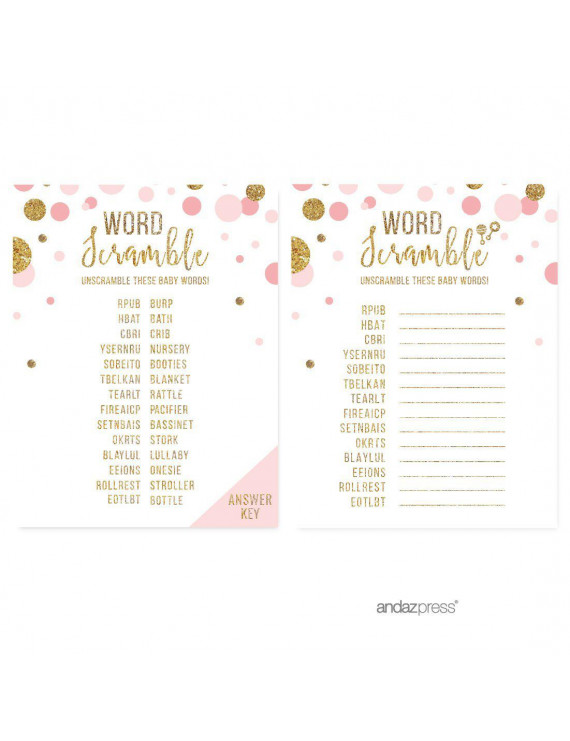 Word Scramble Game  Blush Pink Gold Glitter Baby Shower Games, 20-Pack