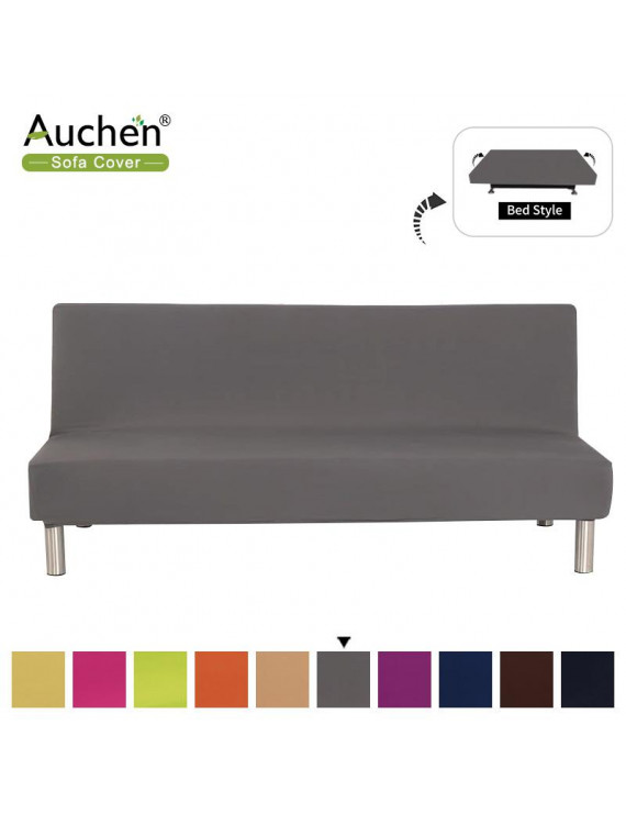 Solid Color Armless Sofa Bed Cover,Stretch Armless Couch Cover for 3 Seat,Polyester Spandex Sofa Slipcover Sofa Protector with Elastic Bottom,Elastic Full Folding Couch Sofa Shield - Gray