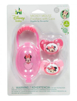 """Minnie Mouse """"Giggles"""" 2-Pack Pacifiers with Case"""