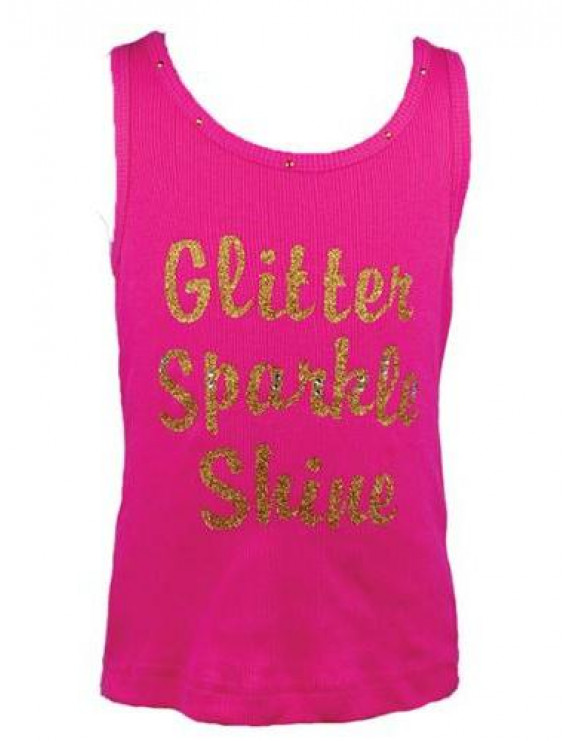"Baby Girls Hot Pink Gold ""Glitter Sparkle Shine"" Tank Top 12-18M"