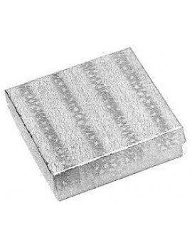 "JSP® 10-Piece Silver Texture Cotton Filled Box 3 1/2"" L X 3 1/2"" W X 1 "" H"