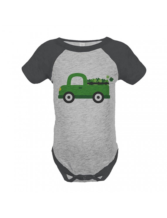 Custom Party Shop Baby's Green Truck St. Patricks Day Grey Onepiece - Green / 12 Month Onepiece