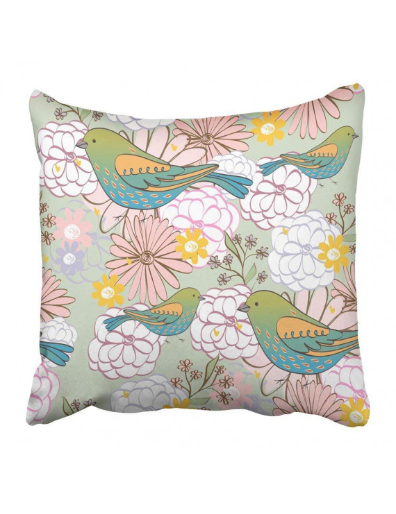 WOPOP Colorful Baby Stylish Floral with Cartoon Bird in Light Colors Pink Child Childhood Childish Cute Pillowcase Pillow Cover 18x18 inches
