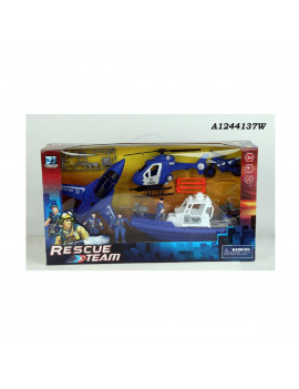 "23.5"" Blue and White Police Rescue Team Playset Children's Toy"