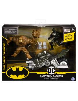 Batman Batcycle Vehicle with Exclusive Batman and Clayface 4-Inch Action Figures