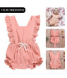 ODOMY Pink Newborn Baby Girl Summer Ruffle Solid Romper Bodysuit Jumpsuit Outfit Clothes