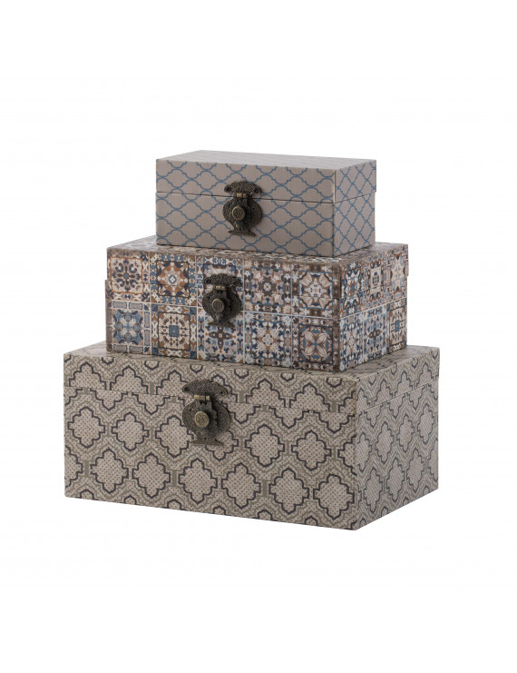 Brown Decorative Boxes - Blue, Brown, Multi-Color - Set of Three