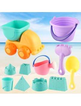 Beach Toys Set for Kids Toddlers 11pcs Beach Sand Toy Set Including Sand Truck, Beach Molds, Beach Bucket, Beach Shovel Tool Kit, Sandbox Toys Toddlers