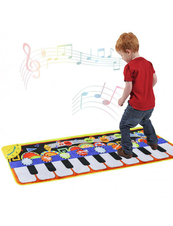 Peroptimist Piano Mat, Musical Piano Mat Keyboard Play Mat Portable Musical Blanket Instrument Toy with Speaker and Recording Function Dance Mat Educational Toy Gift for Kids Toddler Girls Boys