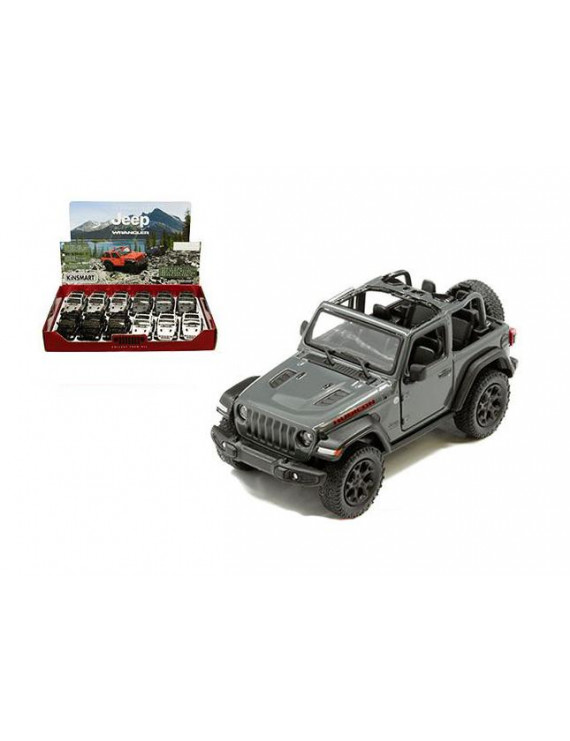 KINSMART 1:34 DISPLAY - 2018 JEEP WRANGLER RUBICON 4X4 (REMOVED TOP)(GREY, BLACK, WHITE, SILVER) SET OF 4 KT5412DH