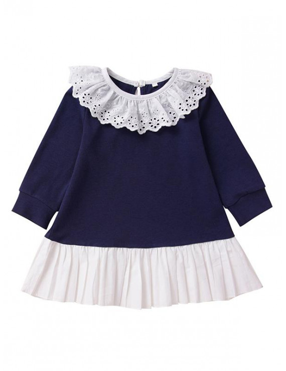KidPika Toddler Kids Girls Ruffle Lace Up Long Sleeves Dress Casual School Dress Clothes Outfit 1-3Y