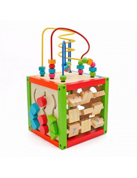 Akoyovwerve Bead Maze Cube, 5 in 1 Wooden Cube Activity Center Learning Cube Educational Toys for Kids and Toddlers