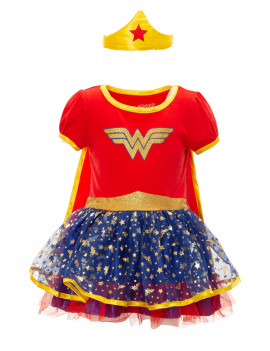 DC Comics Wonder Woman Infant Girls Fancy Dress Costume with Gold Tiara & Cape, Red 24 Months